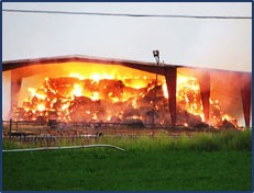 Picture of hay barn on fire