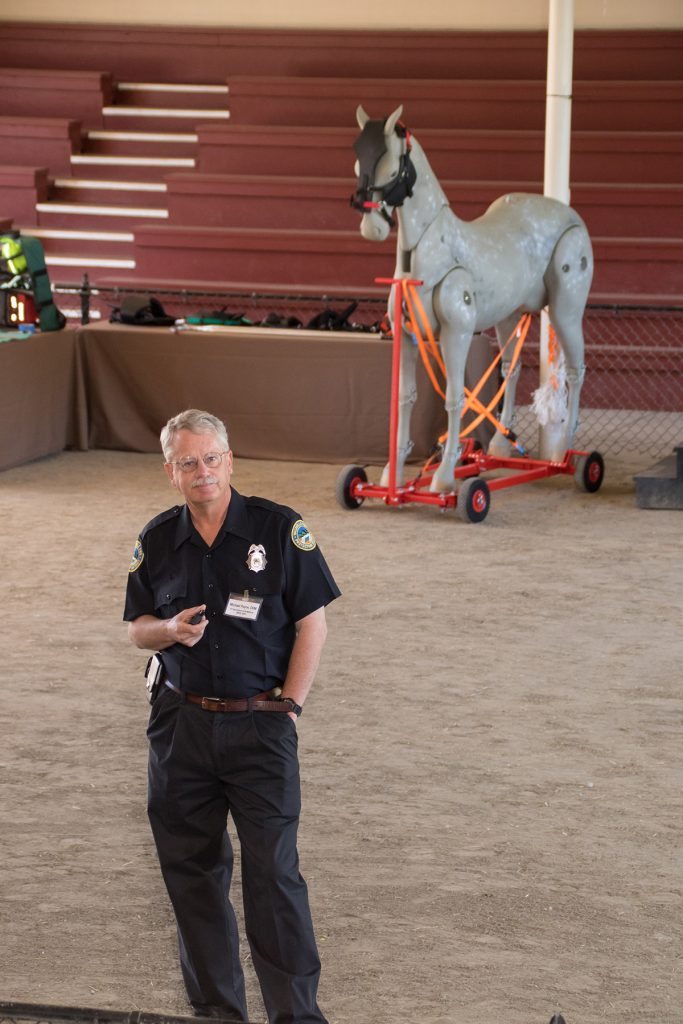 Volunteer firefighter Mike Payne at Ranch Readiness Day
