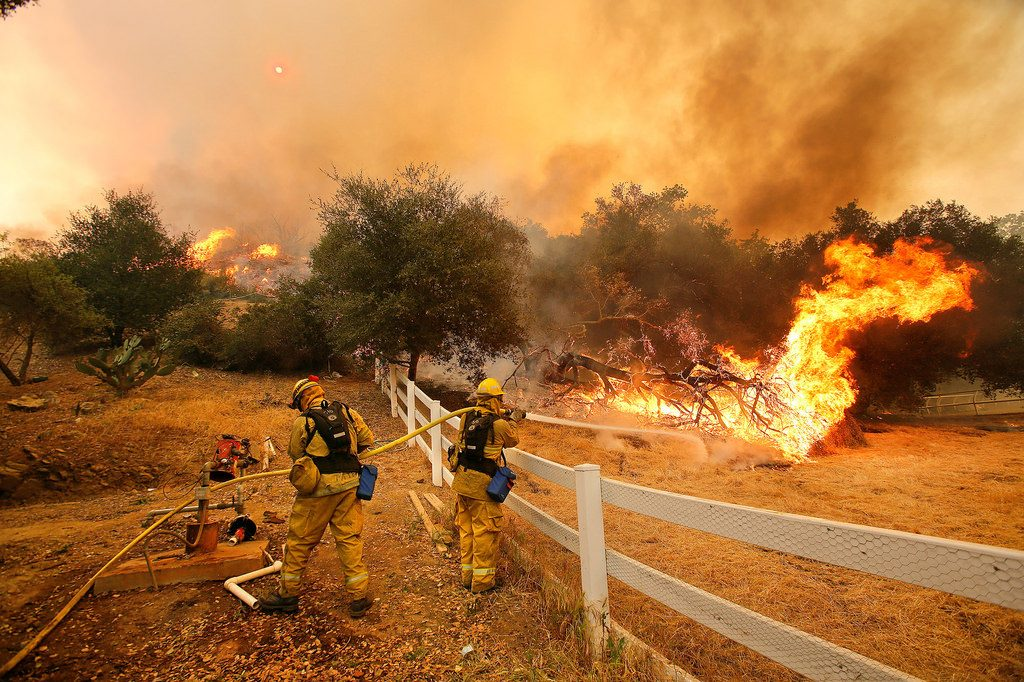 Firefighters fighting wildfire