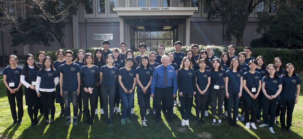 Chinese students and faculty from Nanjing Agricultural University with their hosts from the Western Institute for Food Safety and Security (WIFFS) pose for a photo at the completion of their program at the University of California School of Veterinary Medicine. Photo by Don Preisler/UCDavis © 2018 UC Regents