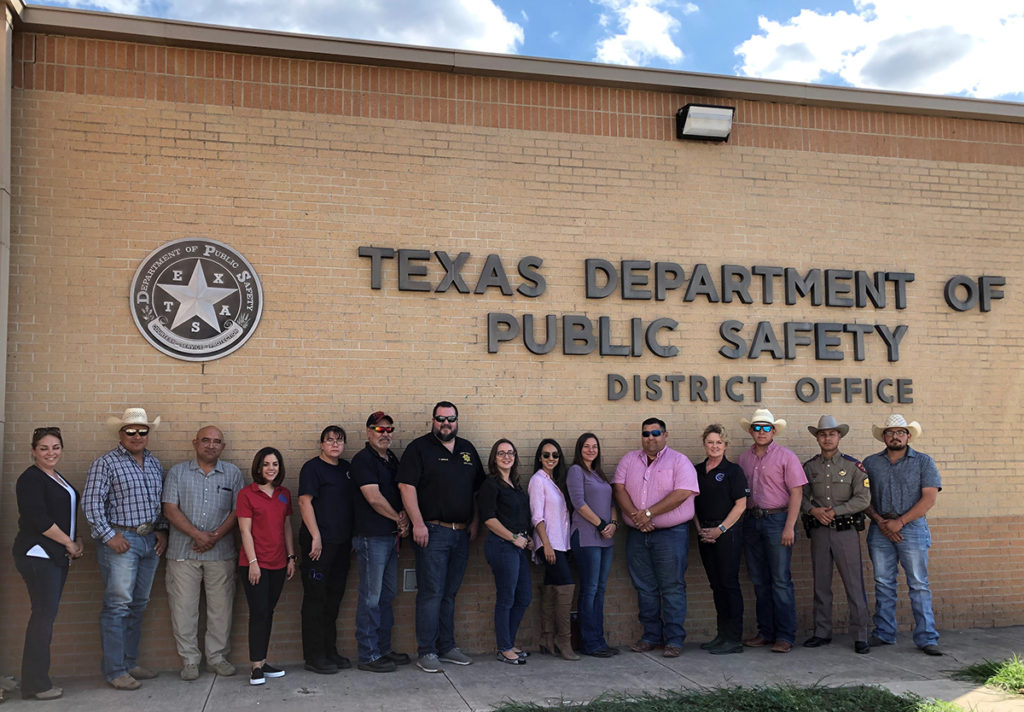 Course participants at AWR328 and MGT448 classes outside Texas Dept of Public Safety District Office, in Laredo, TX