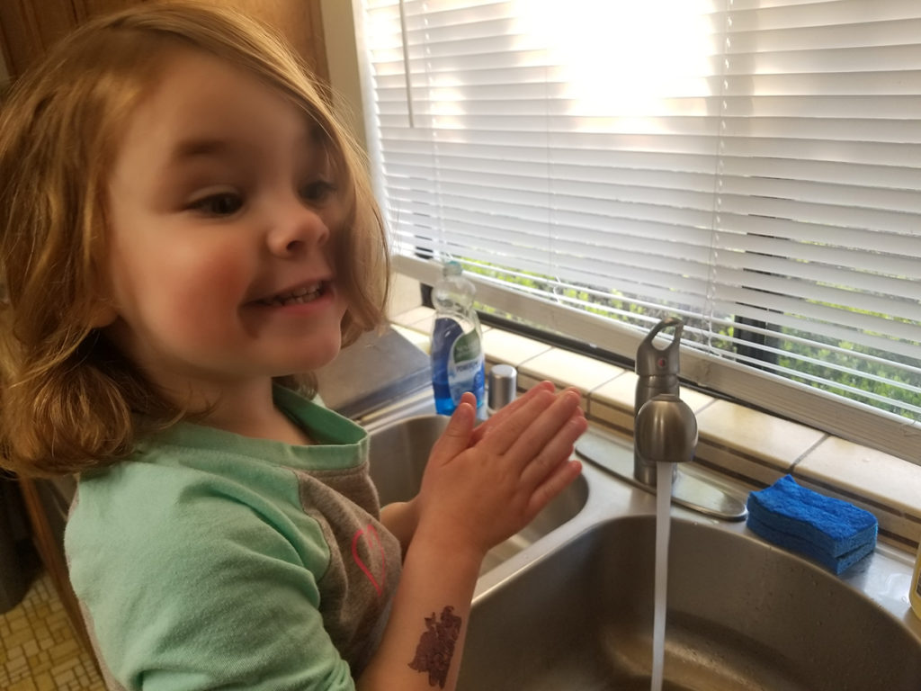 Amelia sings the ABC song twice while washing her hands. She's diligent about scrubbing between her fingers, her thumb, the back of her hands, and her wrists.